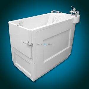 SENSATION - assisted slide-in bath with movable seat [side corner view]
