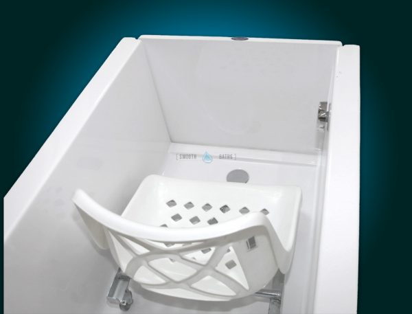 SENSATION - assisted slide-in bath with movable seat [seat inside view]