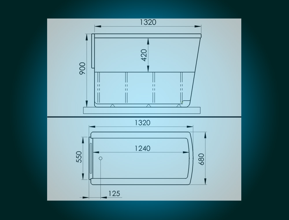 SENSATION - assisted slide-in bath with movable seat [technical drawing]