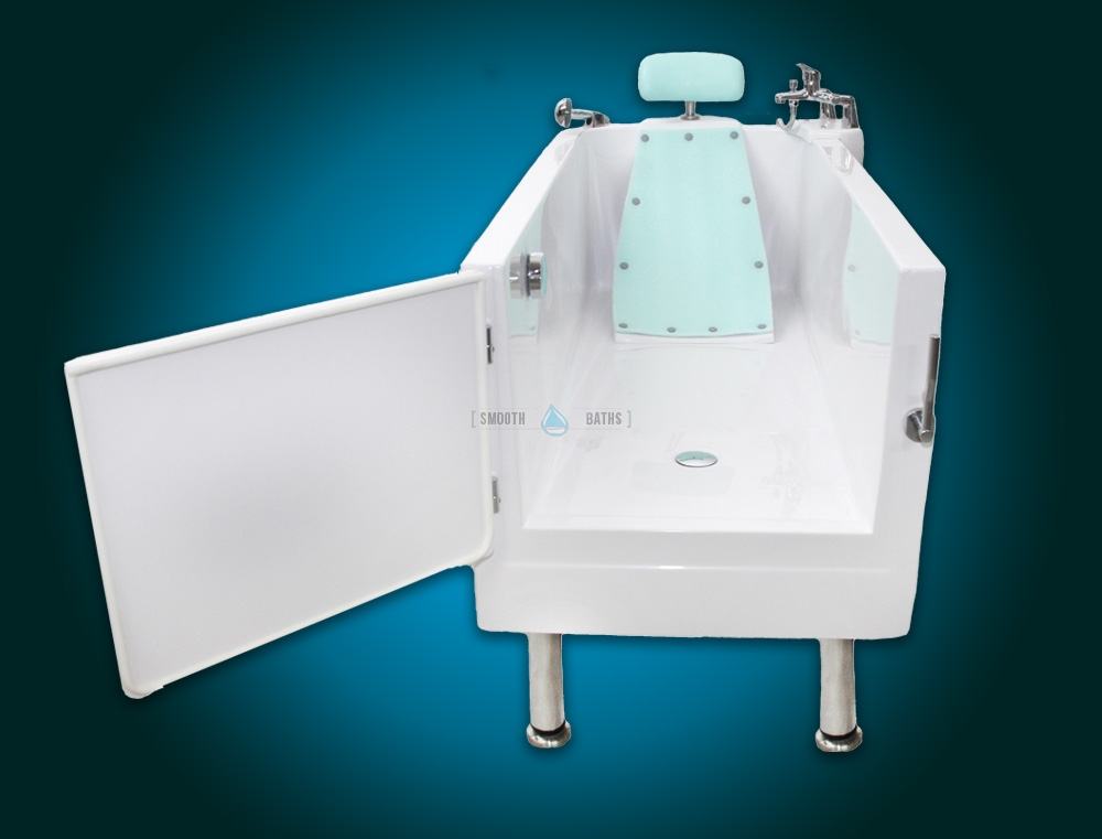 SENSATION - assisted slide-in bath with movable seat [view with backrest and head support]