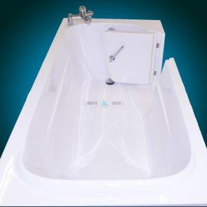 IMPRESSION - walk-in bathtub with faucet [upper view - door open]