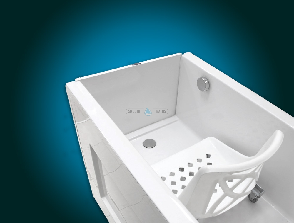 SENSATION PLUS - assisted bath with movable seat or backrest [chair - inside view]