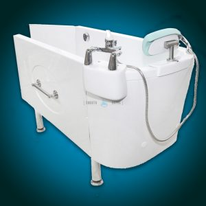 SENSATION PLUS - assisted bath with movable seat or backrest [back side view]