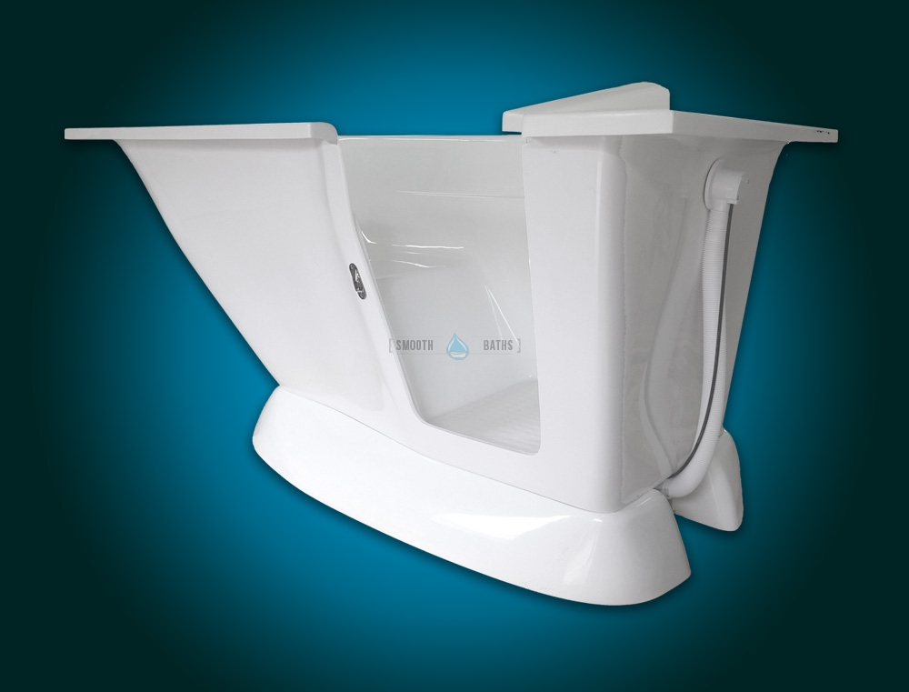 MODERN - small freestanding walk-in bath with seat [side view]
