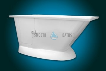 MODERN - small freestanding walk-in bath with seat [front-side view left-handed version]