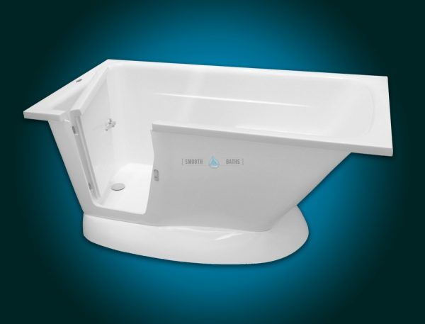MODERN - small freestanding walk-in bath with seat [front-side view with open door]