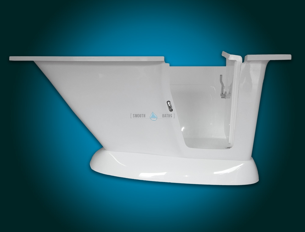 MODERN - small freestanding walk-in bath with seat [right-handed door version view]