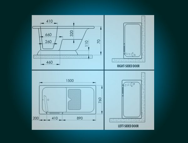 MODERN - small freestanding walk-in bath with seat [technical diagram]