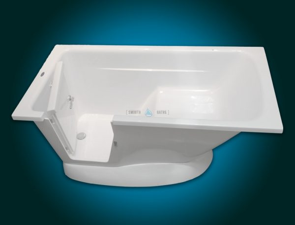 MODERN - small freestanding walk-in bath with seat [left-handed top front view]