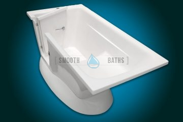 MODERN - small freestanding walk-in bath with seat [top side view with seat]