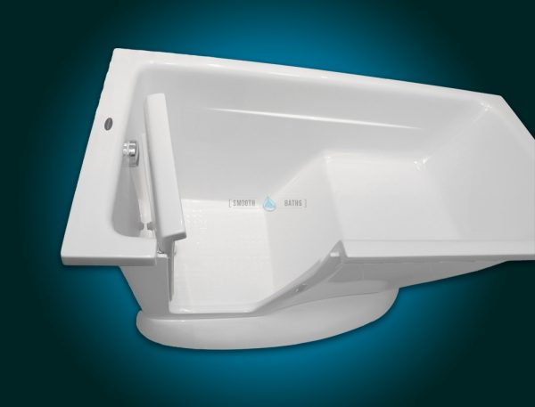 MODERN - small freestanding walk-in bath with seat [left-handed version - top view]