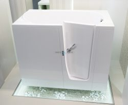 ELEGANCE - freestanding walk-in bathtub with built-in seat for elderly, seniors and disabled [showroom view]