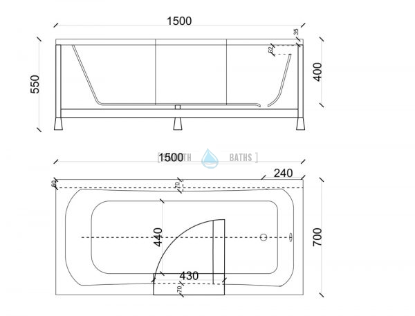 PERFECTION - classical full length walk-in bathtub - technical drawing for 1500mm model (available online from SMOOTH BATHS)