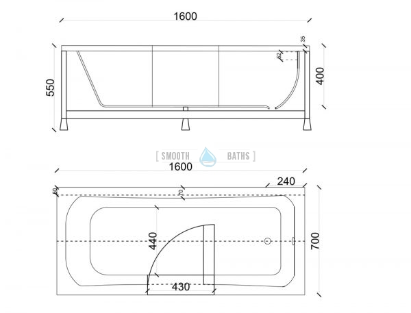 PERFECTION - full length walk-in bathtub - technical drawing for 1600mm model (available online at SMOOTH BATHS)