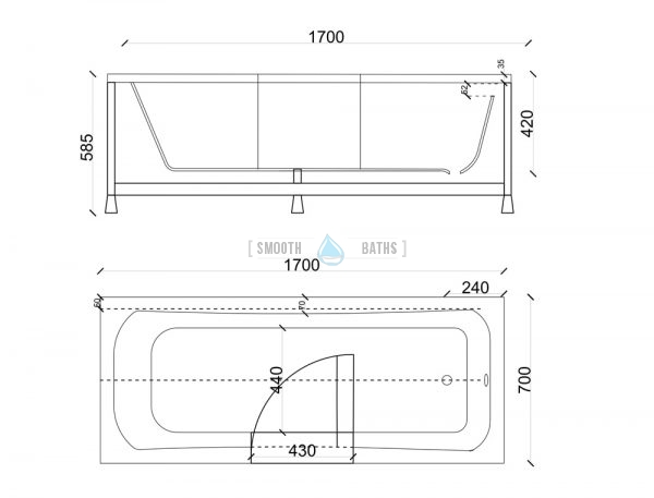 PERFECTION - walk-in bathtub - technical drawing for 1700mm model (available online at SMOOTH BATHS)